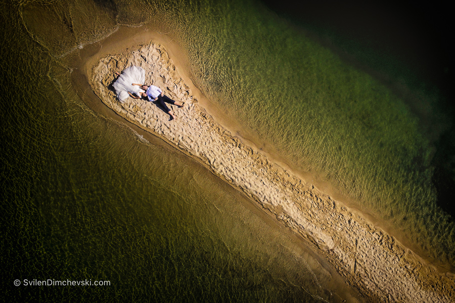 Младоженци снимани с дрон, Халкидически полуостров